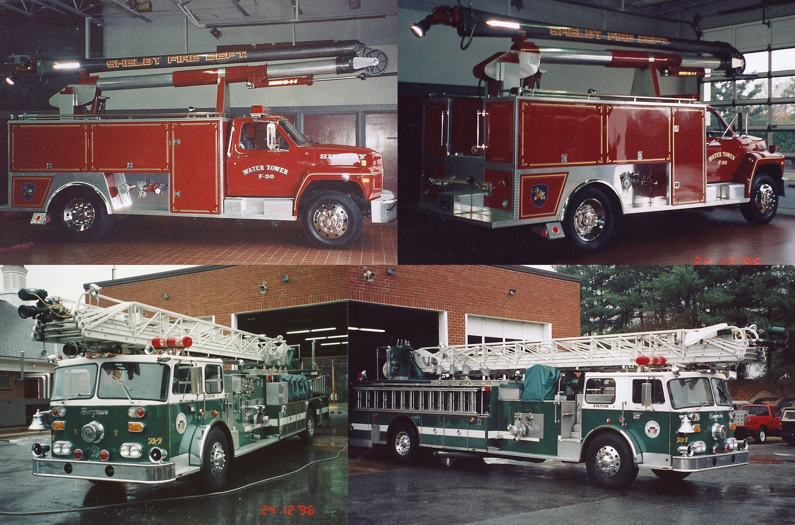 Seagrave Fire Apparatus >> Vintage Photos from Shelby – Green Aerial Ladder & Red ...